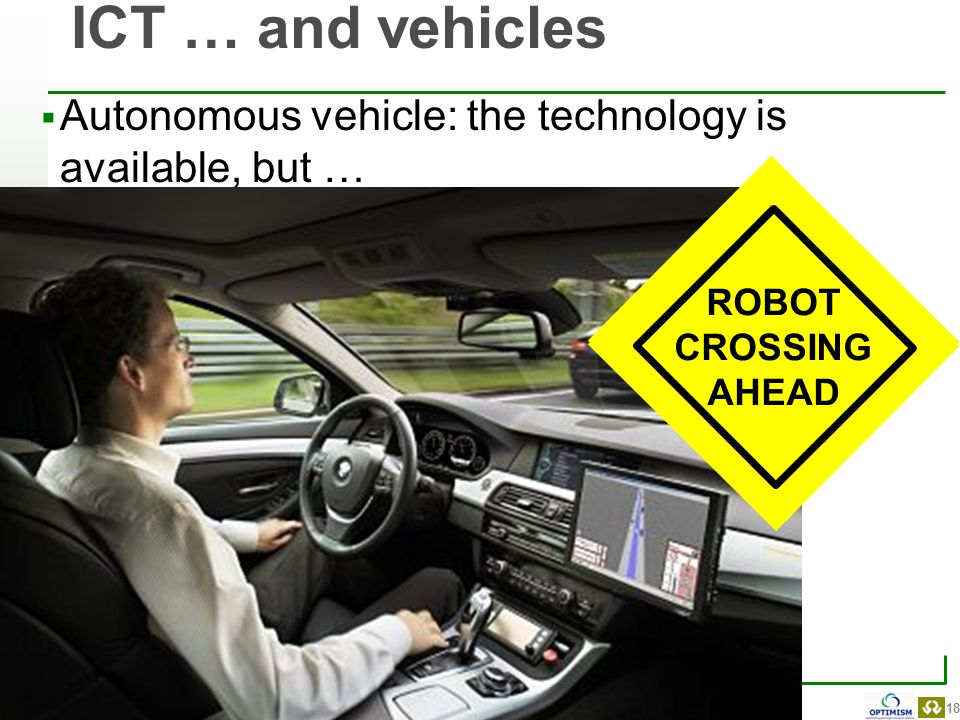 18 Belgian Road Research Centre  Autonomous vehicle: the technology is available, but … ICT … and vehicles ROBOT CROSSING AHEAD ROBOT CROSSING AHEAD
