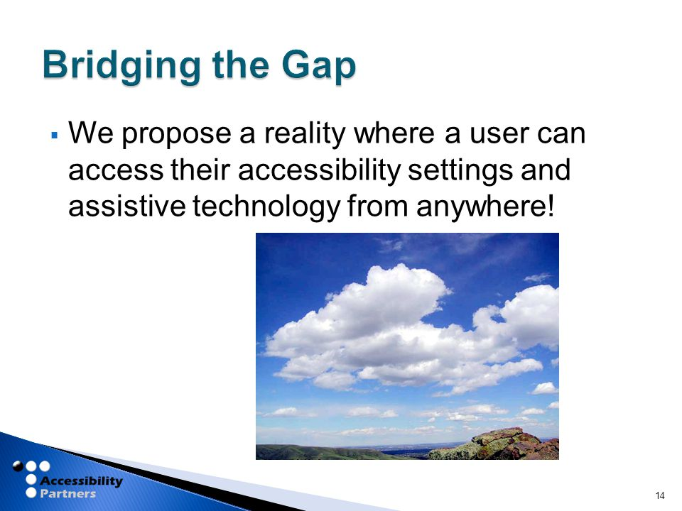  We propose a reality where a user can access their accessibility settings and assistive technology from anywhere.