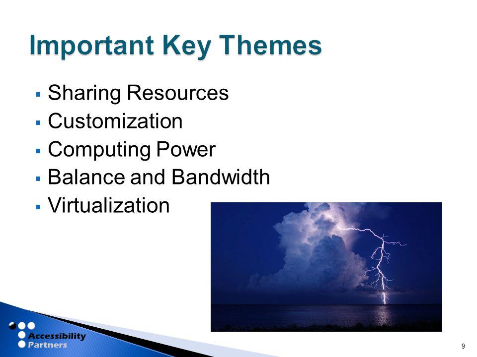  Sharing Resources  Customization  Computing Power  Balance and Bandwidth  Virtualization 9