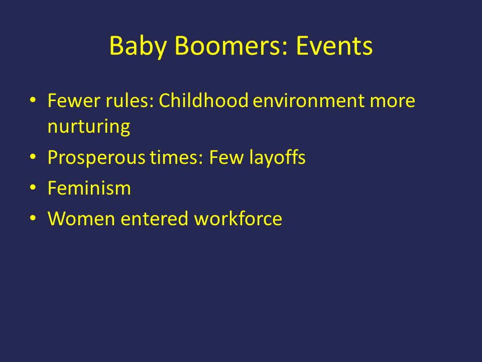 Baby Boomers: Events Fewer rules: Childhood environment more nurturing Prosperous times: Few layoffs Feminism Women entered workforce