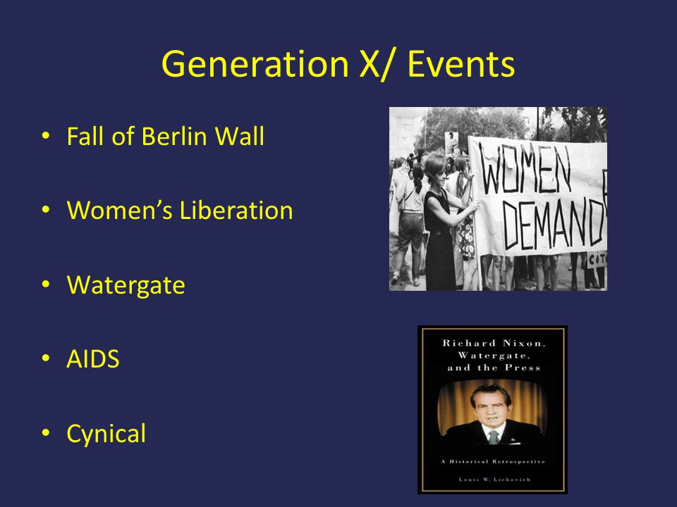 Generation X/ Events Fall of Berlin Wall Women's Liberation Watergate AIDS Cynical