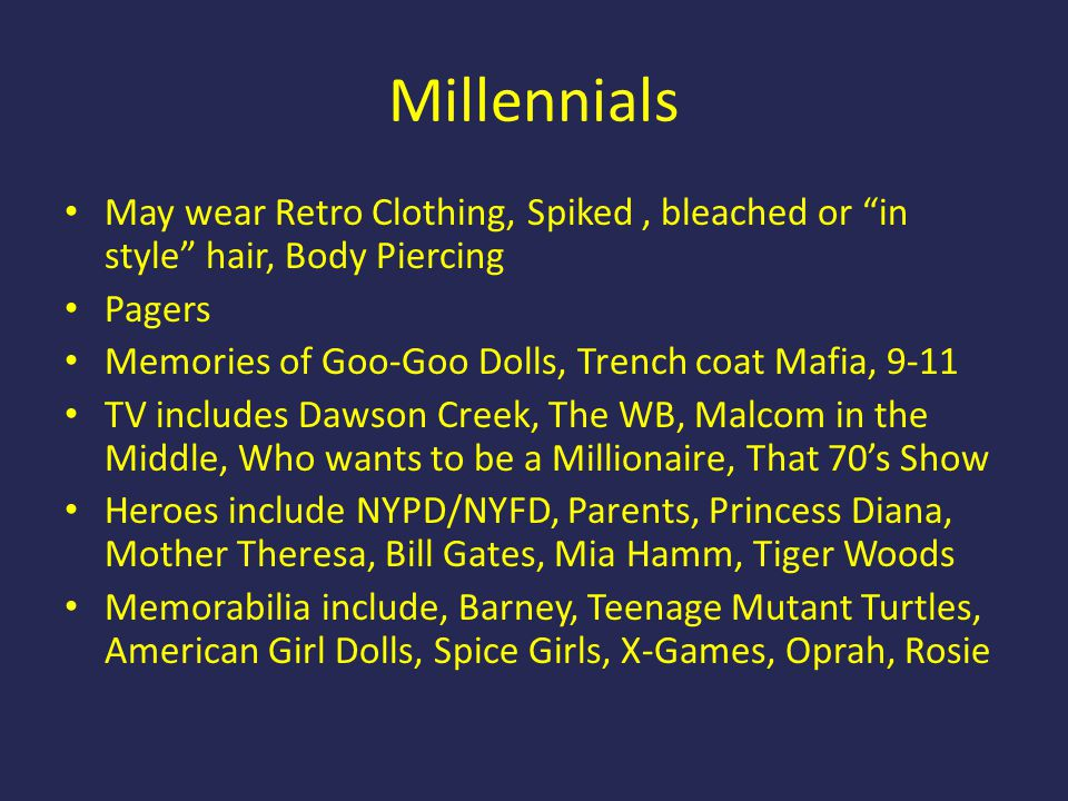 "Millennials May wear Retro Clothing, Spiked, bleached or ""in style"" hair, Body Piercing Pagers Memories of Goo-Goo Dolls, Trench coat Mafia, 9-11 TV i"