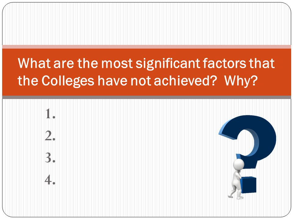 1. 2. 3. 4. What are the most significant factors that the Colleges have not achieved Why