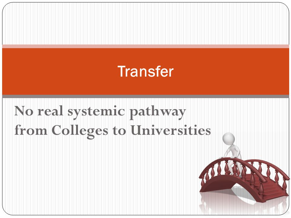 No real systemic pathway from Colleges to Universities Transfer
