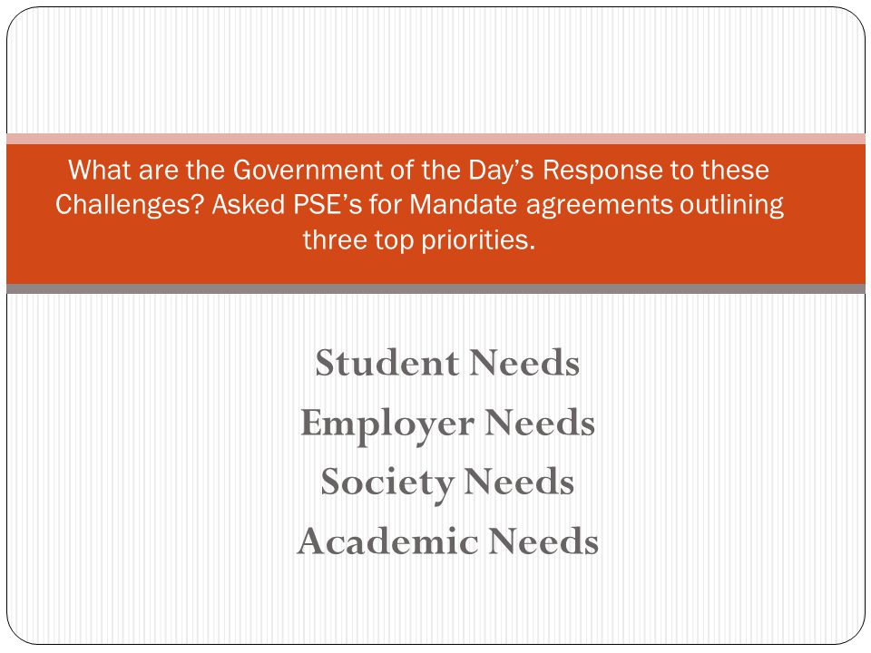 Student Needs Employer Needs Society Needs Academic Needs What are the Government of the Day's Response to these Challenges.