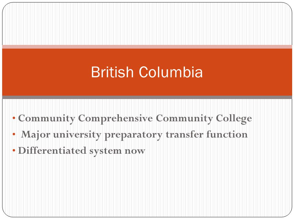 Community Comprehensive Community College Major university preparatory transfer function Differentiated system now British Columbia