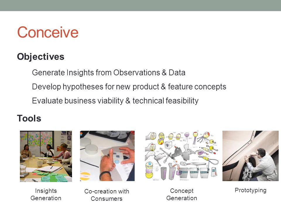 Conceive Objectives Generate Insights from Observations & Data Develop hypotheses for new product & feature concepts Evaluate business viability & technical feasibility Tools Concept Generation Prototyping Insights Generation Co-creation with Consumers