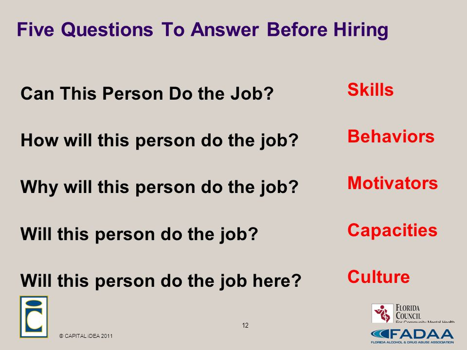 © CAPITAL iDEA 2011 12 Five Questions To Answer Before Hiring Can This Person Do the Job.