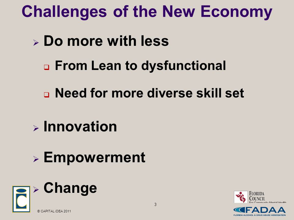 © CAPITAL iDEA 2011 3 Challenges of the New Economy  Do more with less  From Lean to dysfunctional  Need for more diverse skill set  Innovation  Empowerment  Change