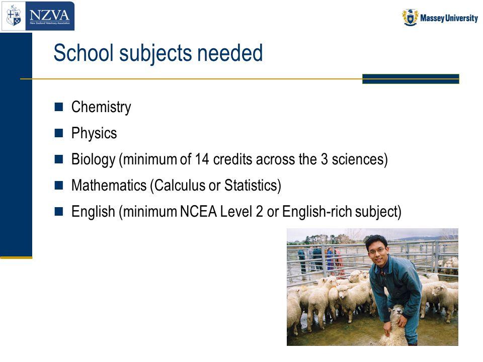 School subjects needed Chemistry Physics Biology (minimum of 14 credits across the 3 sciences) Mathematics (Calculus or Statistics) English (minimum N