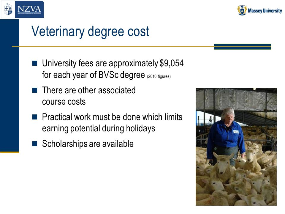 Veterinary degree cost University fees are approximately $9,054 for each year of BVSc degree (2010 figures) There are other associated course costs Pr