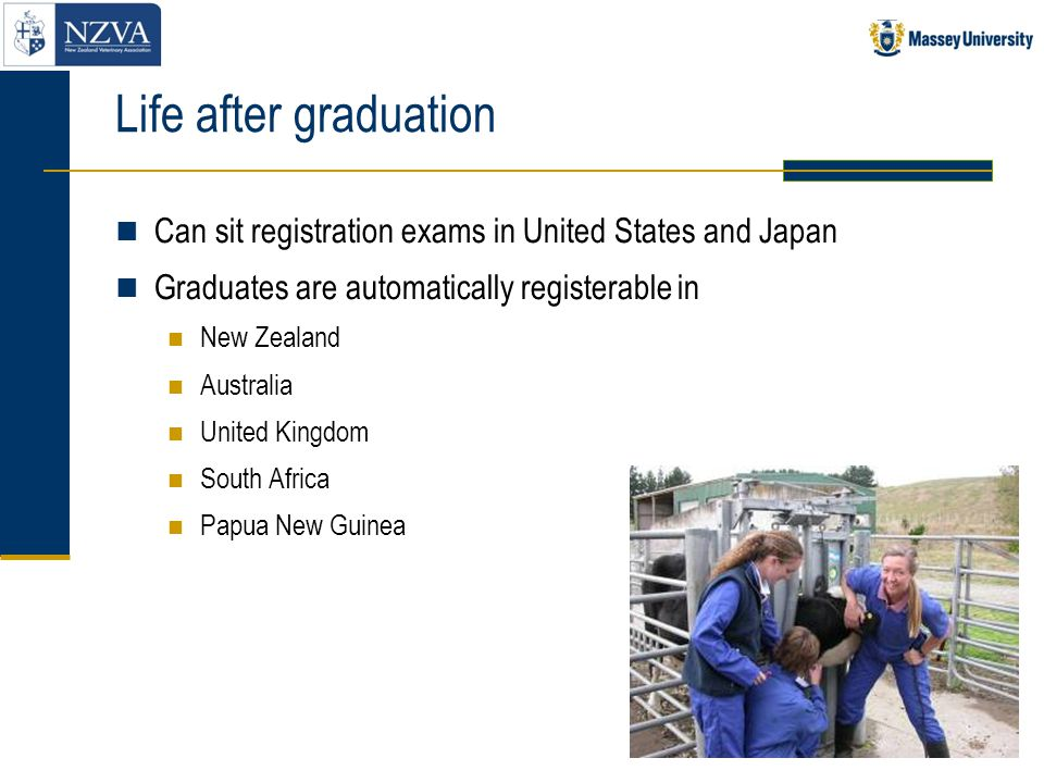 Life after graduation Can sit registration exams in United States and Japan Graduates are automatically registerable in New Zealand Australia United K