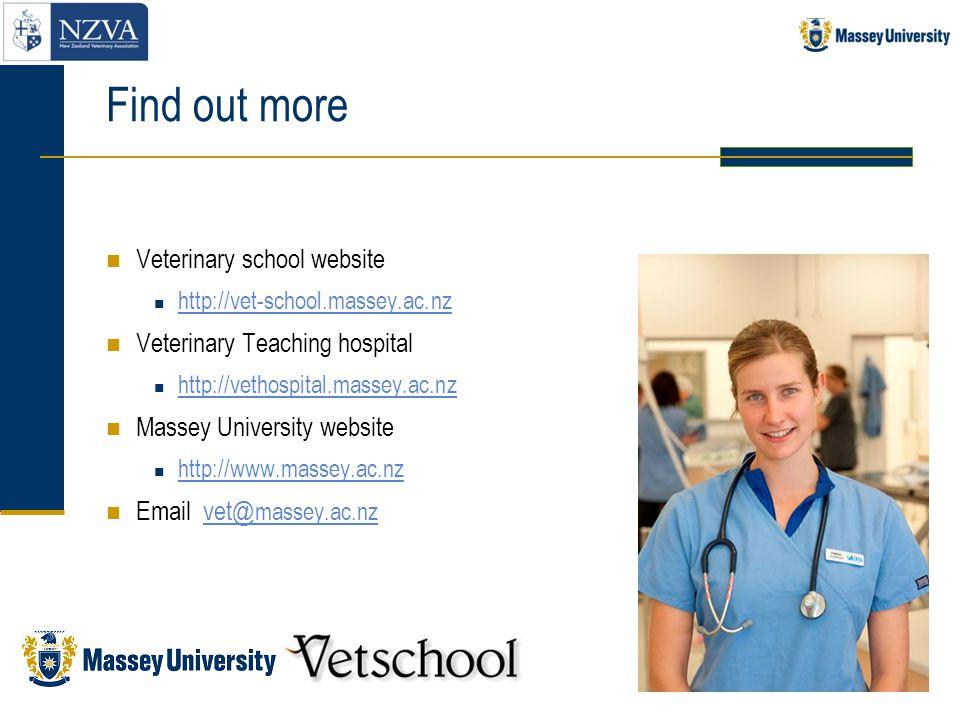Find out more Veterinary school website http://vet-school.massey.ac.nz Veterinary Teaching hospital http://vethospital.massey.ac.nz Massey University