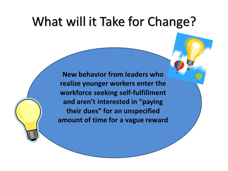 What will it Take for Change? New behavior from leaders who realize younger workers enter the workforce seeking self-fulfillment and aren't interested