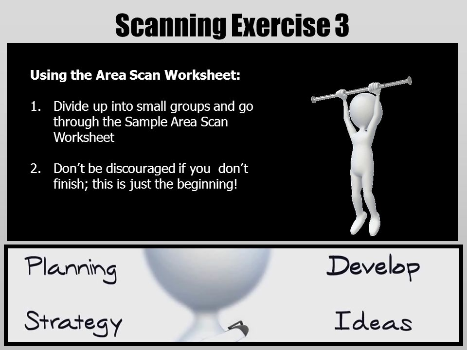 Scanning Exercise 3 Using the Area Scan Worksheet: 1.Divide up into small groups and go through the Sample Area Scan Worksheet 2.Don't be discouraged