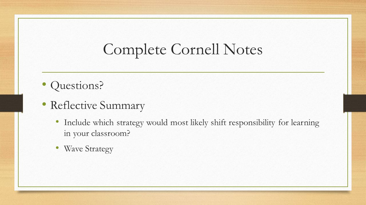 Complete Cornell Notes Questions.