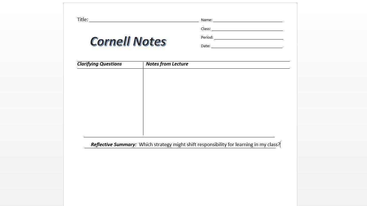 Cornell Notetaking Dr.