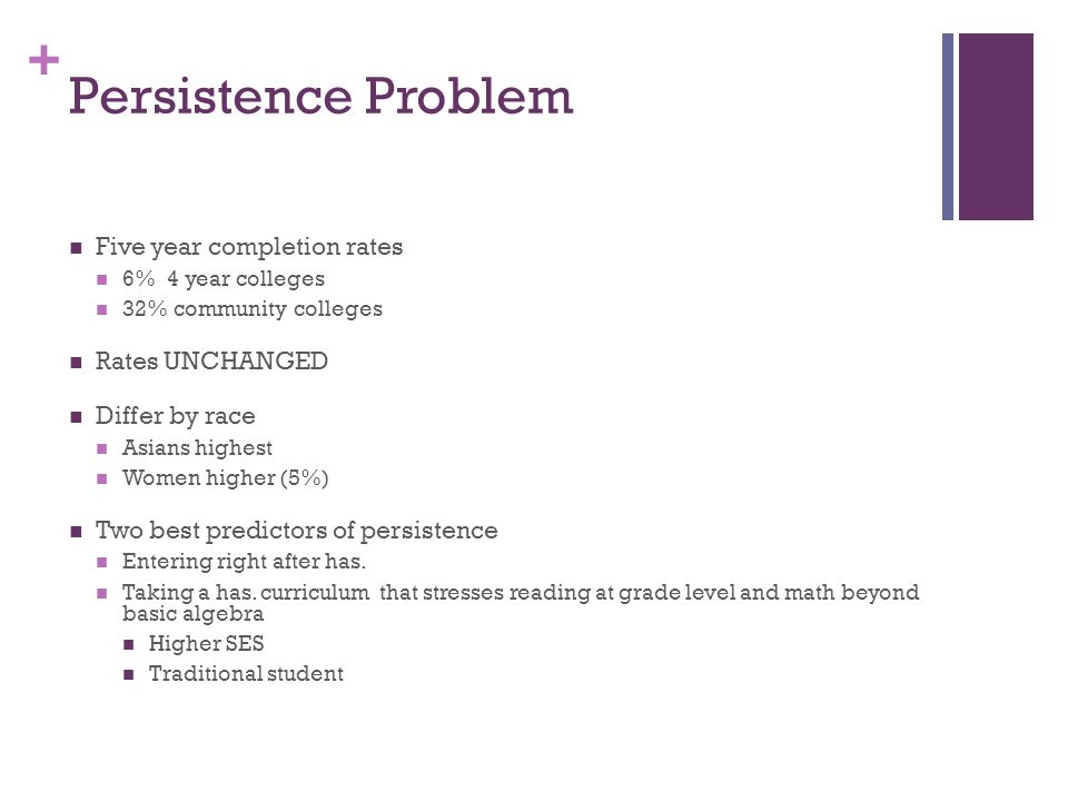 + Persistence Problem Five year completion rates 6% 4 year colleges 32% community colleges Rates UNCHANGED Differ by race Asians highest Women higher (5%) Two best predictors of persistence Entering right after has.