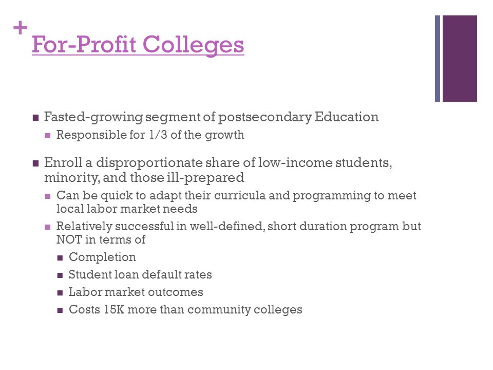 + For-Profit Colleges Fasted-growing segment of postsecondary Education Responsible for 1/3 of the growth Enroll a disproportionate share of low-income students, minority, and those ill-prepared Can be quick to adapt their curricula and programming to meet local labor market needs Relatively successful in well-defined, short duration program but NOT in terms of Completion Student loan default rates Labor market outcomes Costs 15K more than community colleges