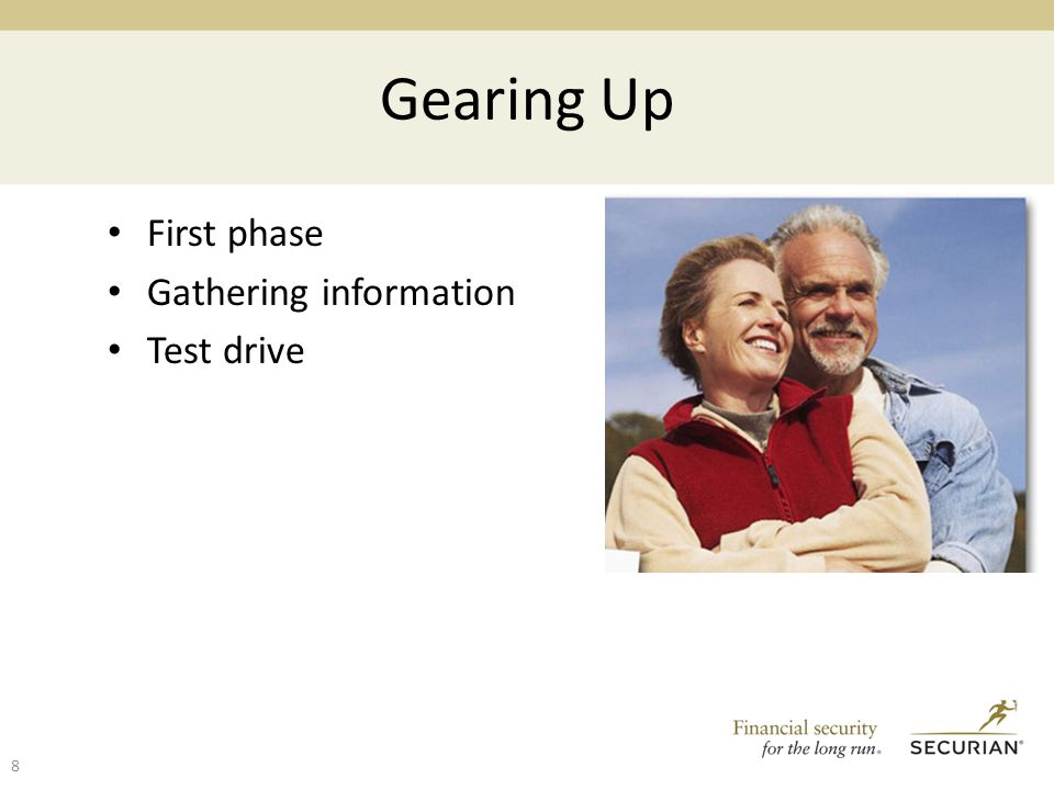 Gearing Up First phase Gathering information Test drive 8