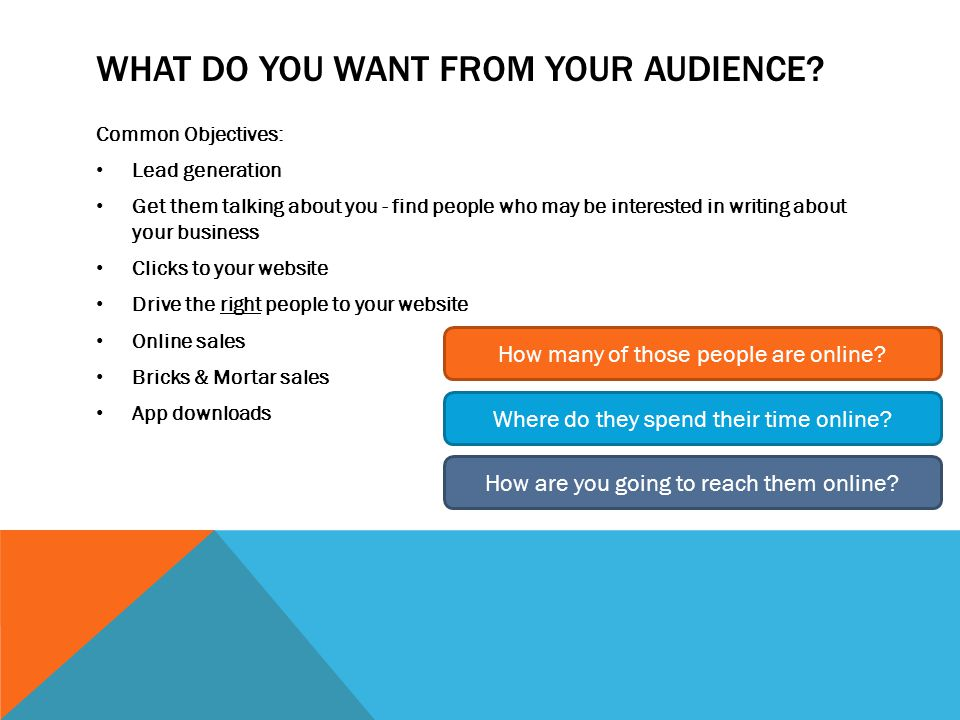 WHAT DO YOU WANT FROM YOUR AUDIENCE.