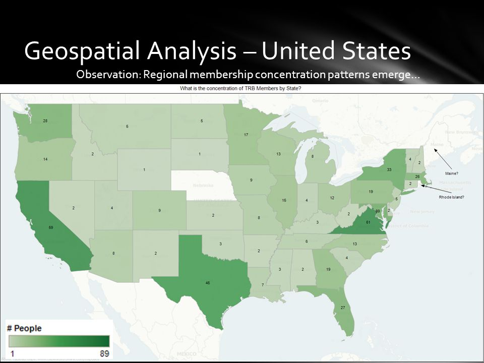 Geospatial Analysis – United States Observation: Regional membership concentration patterns emerge…