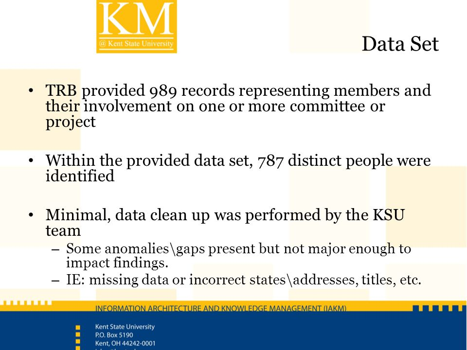 Data Set TRB provided 989 records representing members and their involvement on one or more committee or project Within the provided data set, 787 dis