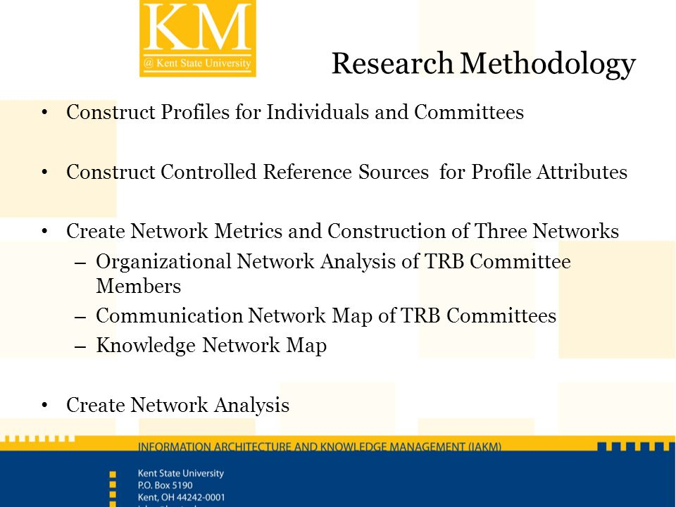Research Methodology Construct Profiles for Individuals and Committees Construct Controlled Reference Sources for Profile Attributes Create Network Me