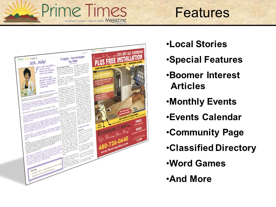 Local Stories Special Features Boomer Interest Articles Monthly Events Events Calendar Community Page Classified Directory Word Games And More Features