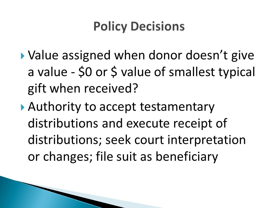  Value assigned when donor doesn't give a value - $0 or $ value of smallest typical gift when received.