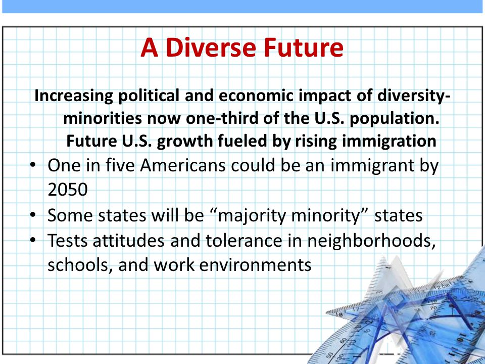 A Diverse Future Increasing political and economic impact of diversity- minorities now one-third of the U.S.