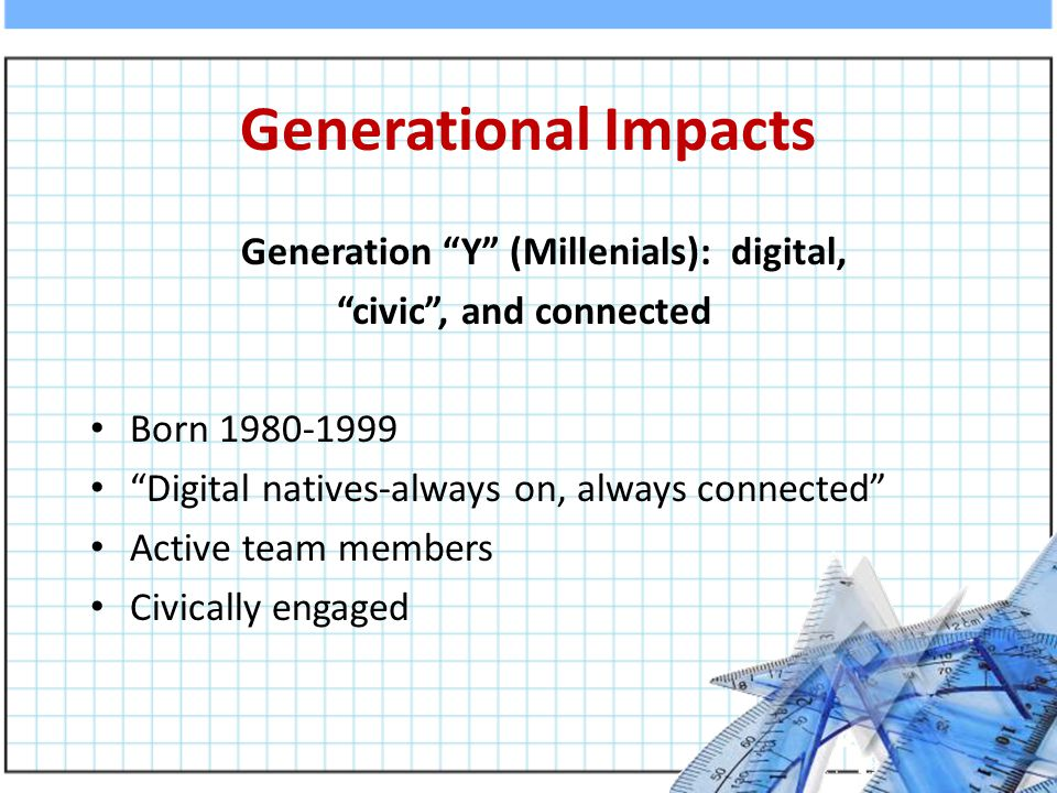 Generational Impacts Generation Y (Millenials): digital, civic , and connected Born 1980-1999 Digital natives-always on, always connected Active team members Civically engaged