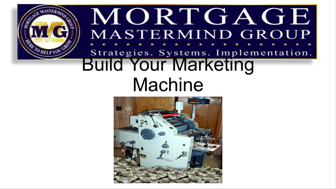 A Money Machine is a sequence of Actions you take to create a lead, cultivate the lead and close them as clients It is something you can repeat over and over and over and achieve similar results But a Good Money machine is well Engineered, and requires a Good service technician to maintain and Up Grade it
