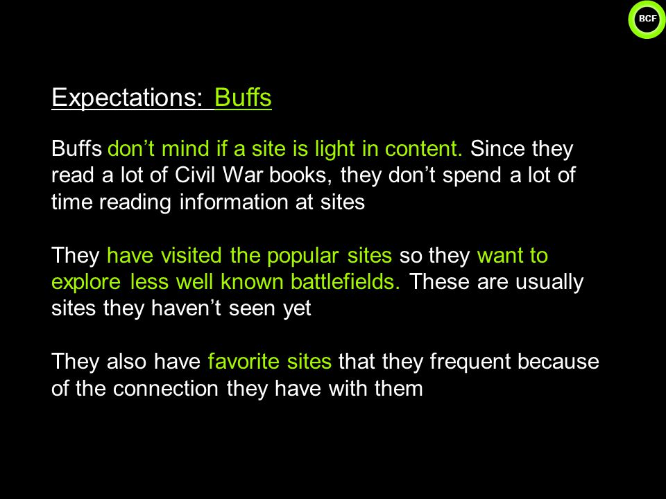 BCF 27 Expectations: Buffs Buffs don't mind if a site is light in content.