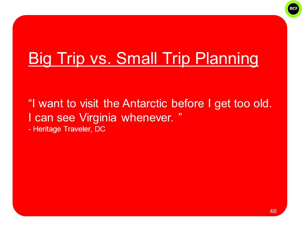 BCF Big Trip vs. Small Trip Planning I want to visit the Antarctic before I get too old.