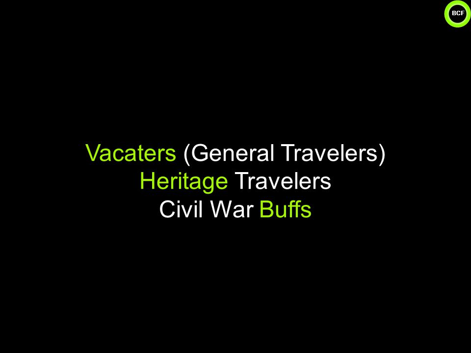 BCF Vacaters (General Travelers) Heritage Travelers Civil War Buffs 7