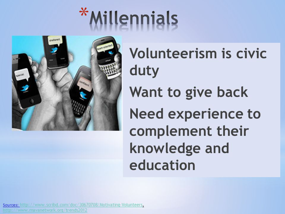 Volunteerism is civic duty Want to give back Need experience to complement their knowledge and education Sources: http://www.scribd.com/doc/30670708/Motivating-Volunteers, http://www.mavanetwork.org/trends2012 http://www.scribd.com/doc/30670708/Motivating-Volunteers http://www.mavanetwork.org/trends2012