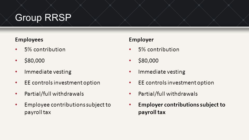 Group RRSP Employees 5% contribution $80,000 Immediate vesting EE controls investment option Partial/full withdrawals Employee contributions subject t