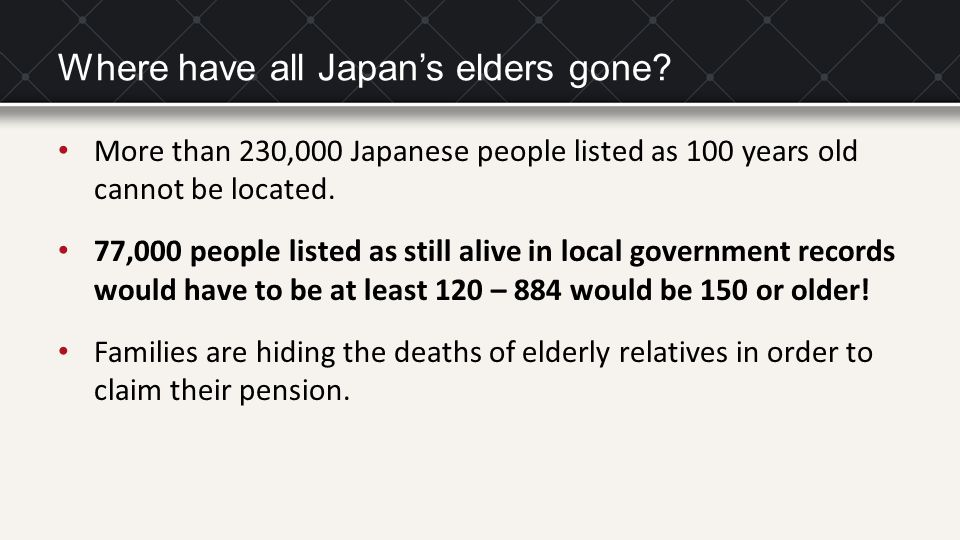 Where have all Japan's elders gone.
