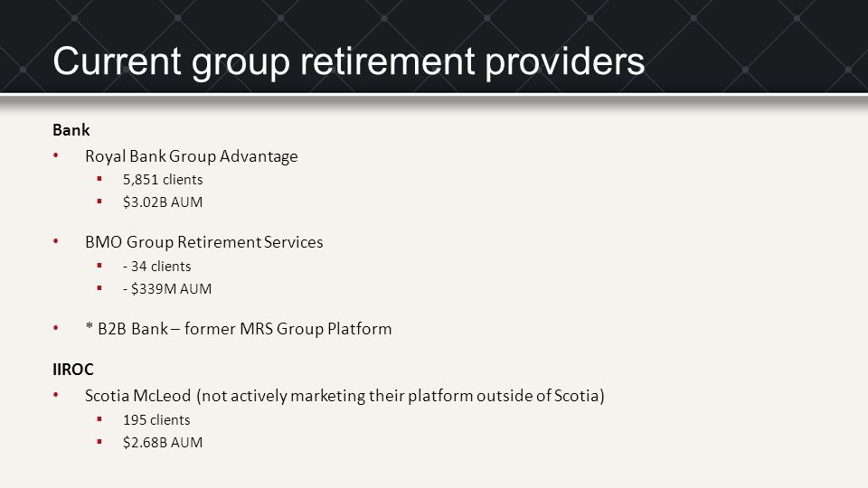 Current group retirement providers Bank Royal Bank Group Advantage  5,851 clients  $3.02B AUM BMO Group Retirement Services  - 34 clients  - $339M AUM * B2B Bank – former MRS Group Platform IIROC Scotia McLeod (not actively marketing their platform outside of Scotia)  195 clients  $2.68B AUM