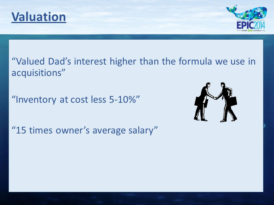 Valued Dad's interest higher than the formula we use in acquisitions Inventory at cost less 5-10% 15 times owner's average salary Valuation