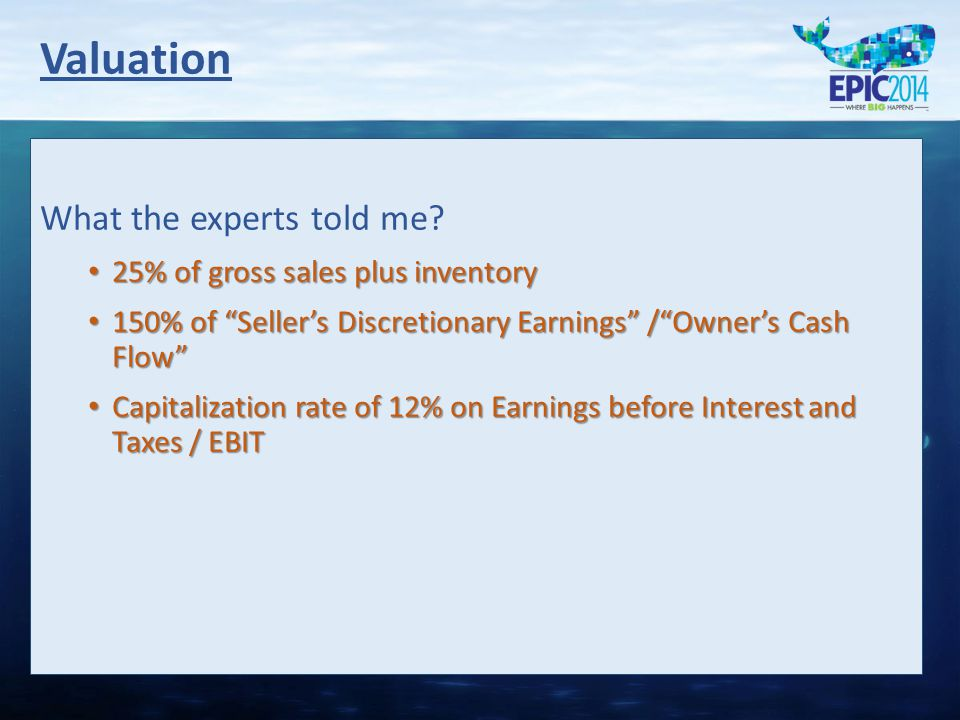 """What the experts told me? 25% of gross sales plus inventory 25% of gross sales plus inventory 150% of """"Seller's Discretionary Earnings"""" /""""Owner's Cash"""