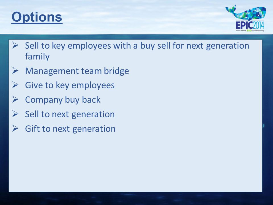   Sell to key employees with a buy sell for next generation family   Management team bridge   Give to key employees   Company buy back   Sell to next generation   Gift to next generation Options