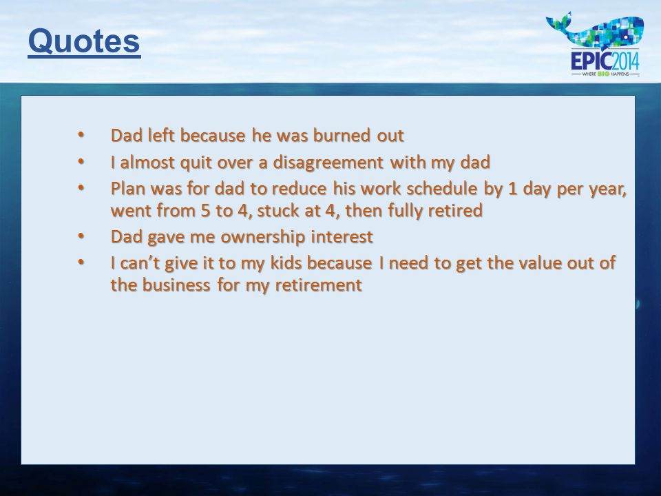 Quotes Dad left because he was burned out Dad left because he was burned out I almost quit over a disagreement with my dad I almost quit over a disagr