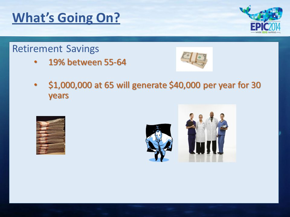 Retirement Savings 19% between 55-64 19% between 55-64 $1,000,000 at 65 will generate $40,000 per year for 30 years $1,000,000 at 65 will generate $40,000 per year for 30 years What's Going On?