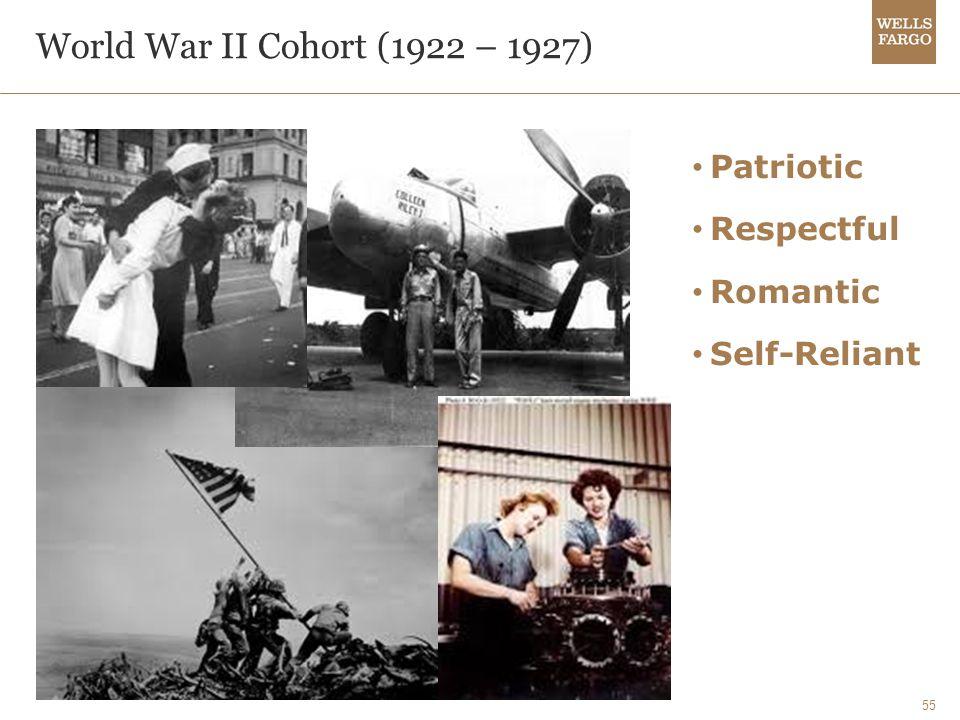 55 World War II Cohort (1922 – 1927) Patriotic Respectful Romantic Self-Reliant