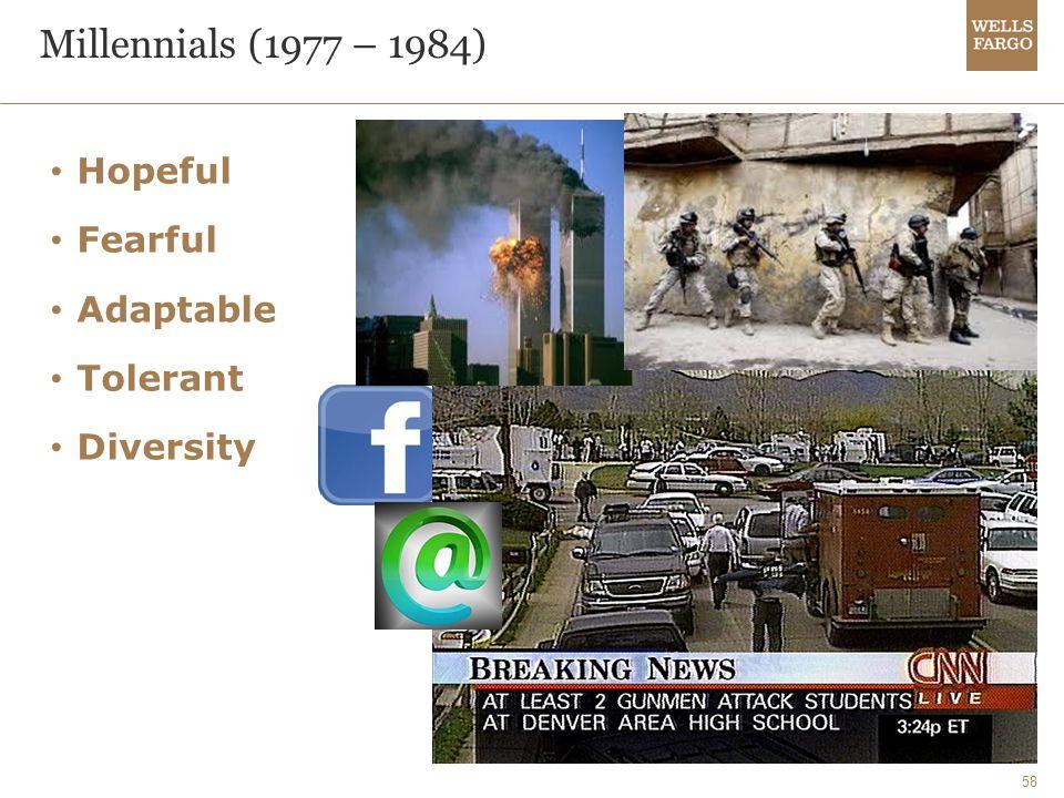 58 Millennials (1977 – 1984) Hopeful Fearful Adaptable Tolerant Diversity