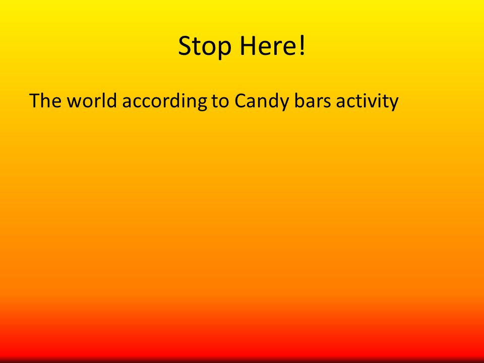 Stop Here! The world according to Candy bars activity