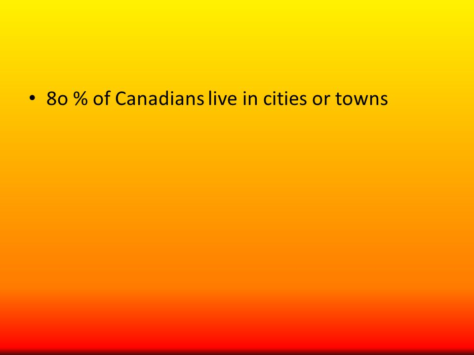8o % of Canadians live in cities or towns