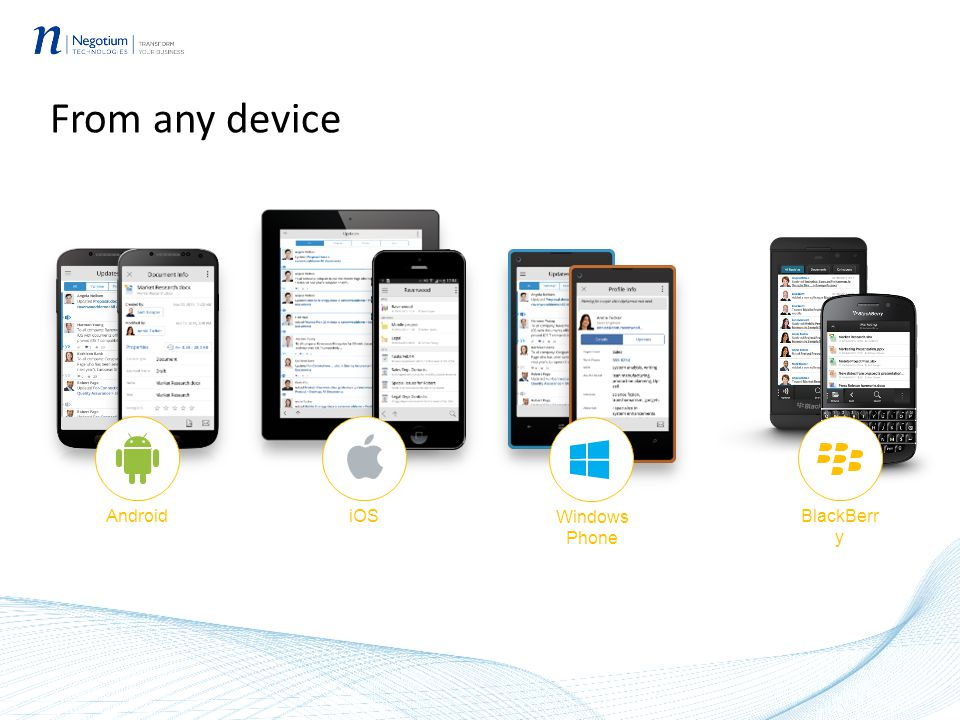 From any device Android iOS BlackBerr y Windows Phone